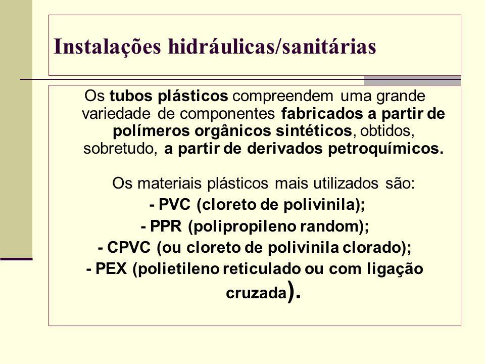 Instalações hidráulicas/sanitárias Os tubos plásticos compreendem uma grande variedade de componentes fabricados a partir de polímeros orgânicos sinté