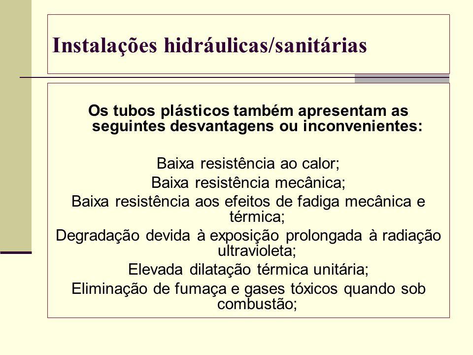 Instalações hidráulicas/sanitárias Os tubos plásticos também apresentam as seguintes desvantagens ou inconvenientes: Baixa resistência ao calor; Baixa