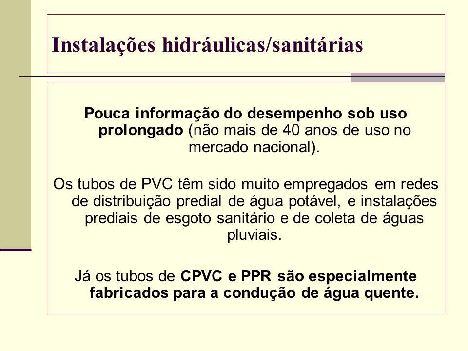 Instalações hidráulicas/sanitárias Pouca informação do desempenho sob uso prolongado (não mais de 40 anos de uso no mercado nacional). Os tubos de PVC