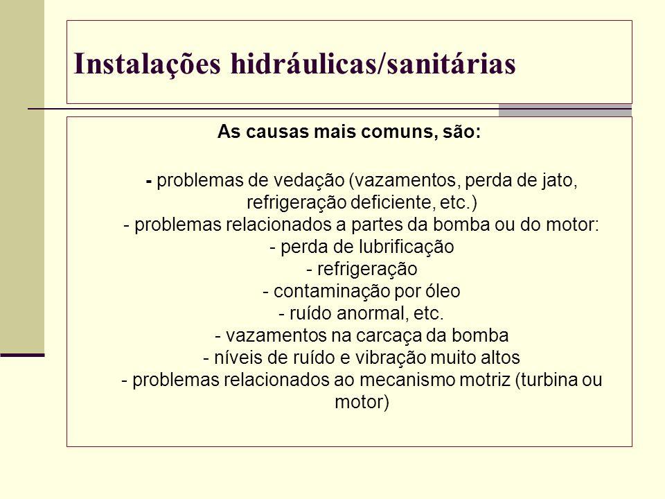 Instalações hidráulicas/sanitárias As causas mais comuns, são: - problemas de vedação (vazamentos, perda de jato, refrigeração deficiente, etc.) - pro