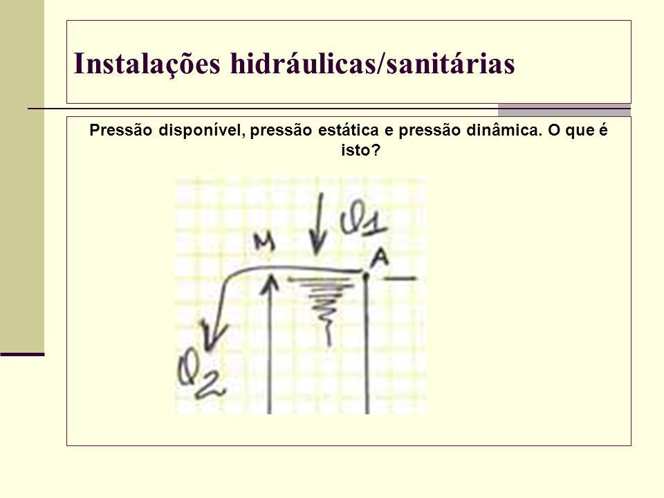 Instalações hidráulicas/sanitárias Pressão disponível, pressão estática e pressão dinâmica. O que é isto?