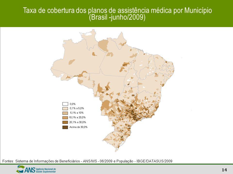 14 Taxa de cobertura dos planos de assistência médica por Município (Brasil -junho/2009) Fontes: Sistema de Informações de Beneficiários - ANS/MS - 06