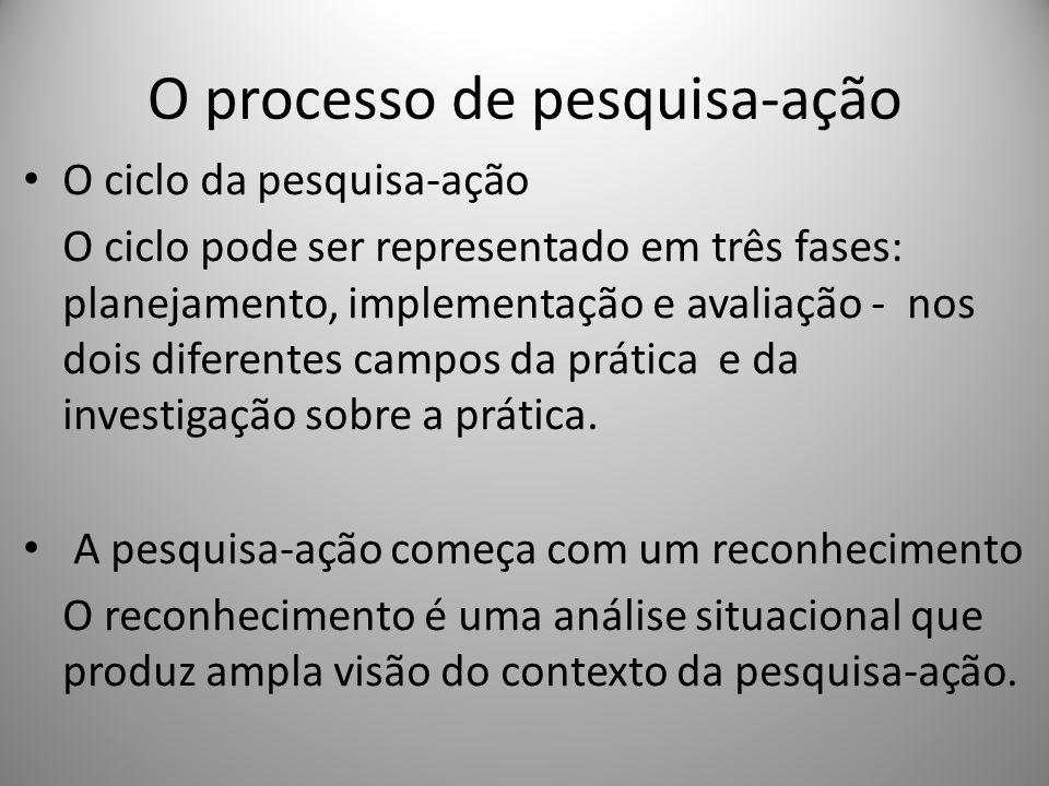 O processo de pesquisa-ação O ciclo da pesquisa-ação O ciclo pode ser representado em três fases: planejamento, implementação e avaliação - nos dois d