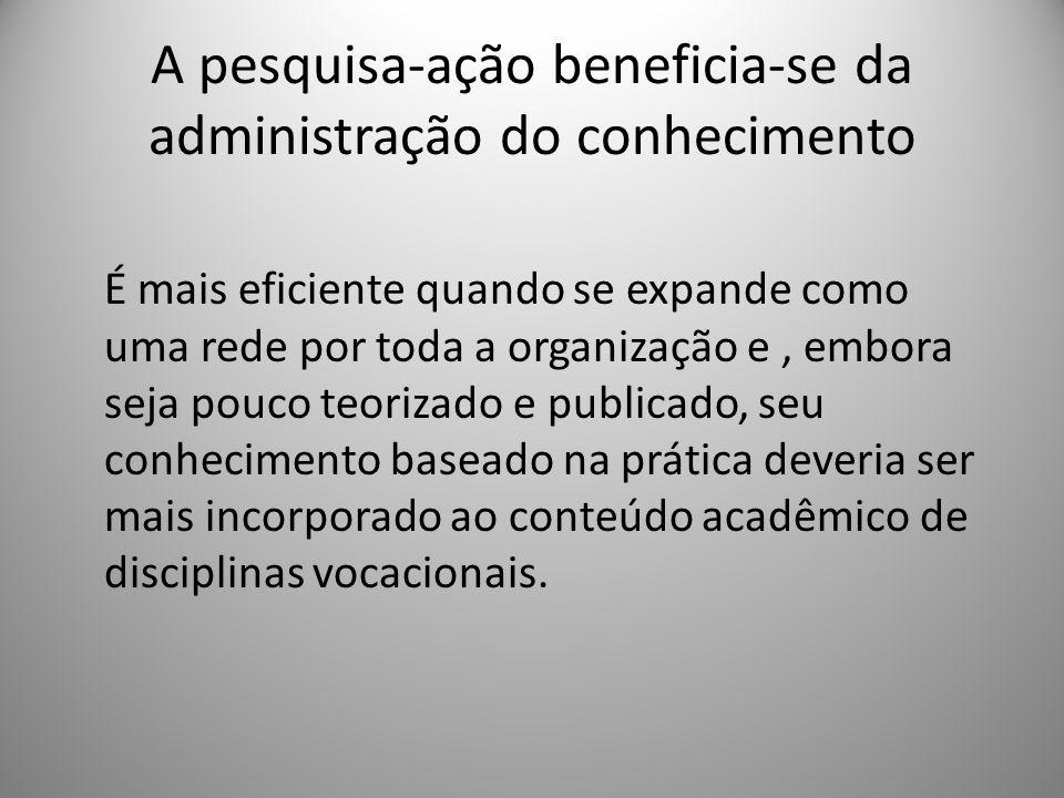 A pesquisa-ação beneficia-se da administração do conhecimento É mais eficiente quando se expande como uma rede por toda a organização e, embora seja p
