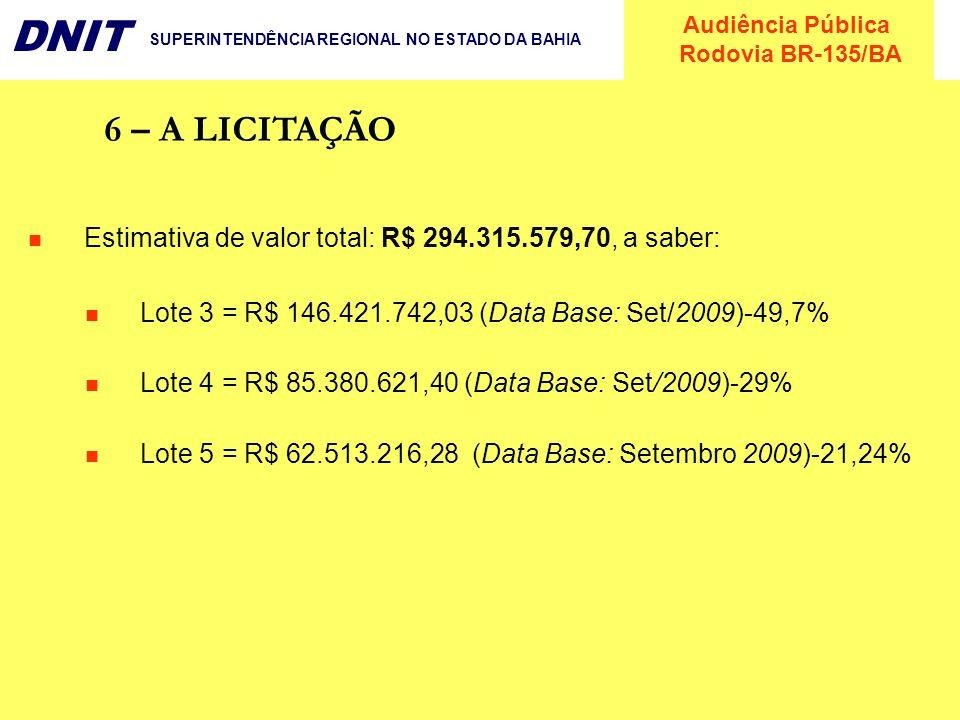 Audiência Pública Rodovia BR-135/BA DNIT SUPERINTENDÊNCIA REGIONAL NO ESTADO DA BAHIA 6 – A LICITAÇÃO Estimativa de valor total: R$ 294.315.579,70, a