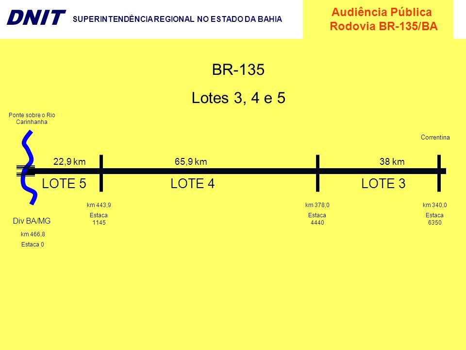 Audiência Pública Rodovia BR-135/BA DNIT SUPERINTENDÊNCIA REGIONAL NO ESTADO DA BAHIA km 466,8 Estaca 0 Div BA/MG Ponte sobre o Rio Carinhanha km 443,