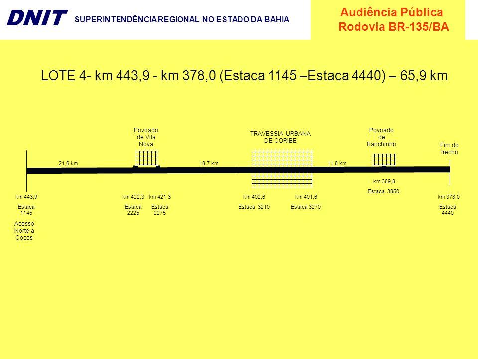 Audiência Pública Rodovia BR-135/BA DNIT SUPERINTENDÊNCIA REGIONAL NO ESTADO DA BAHIA Povoado de Vila Nova km 422,3 Estaca 2225 km 443,9 Estaca 1145 T