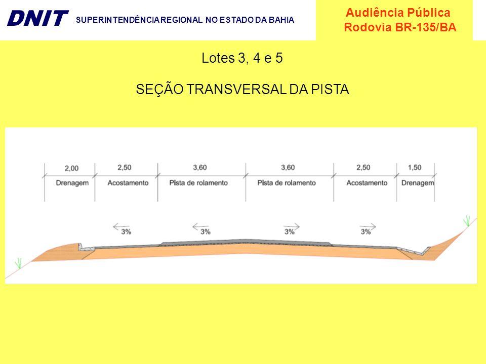 Audiência Pública Rodovia BR-135/BA DNIT SUPERINTENDÊNCIA REGIONAL NO ESTADO DA BAHIA Lotes 3, 4 e 5 SEÇÃO TRANSVERSAL DA PISTA