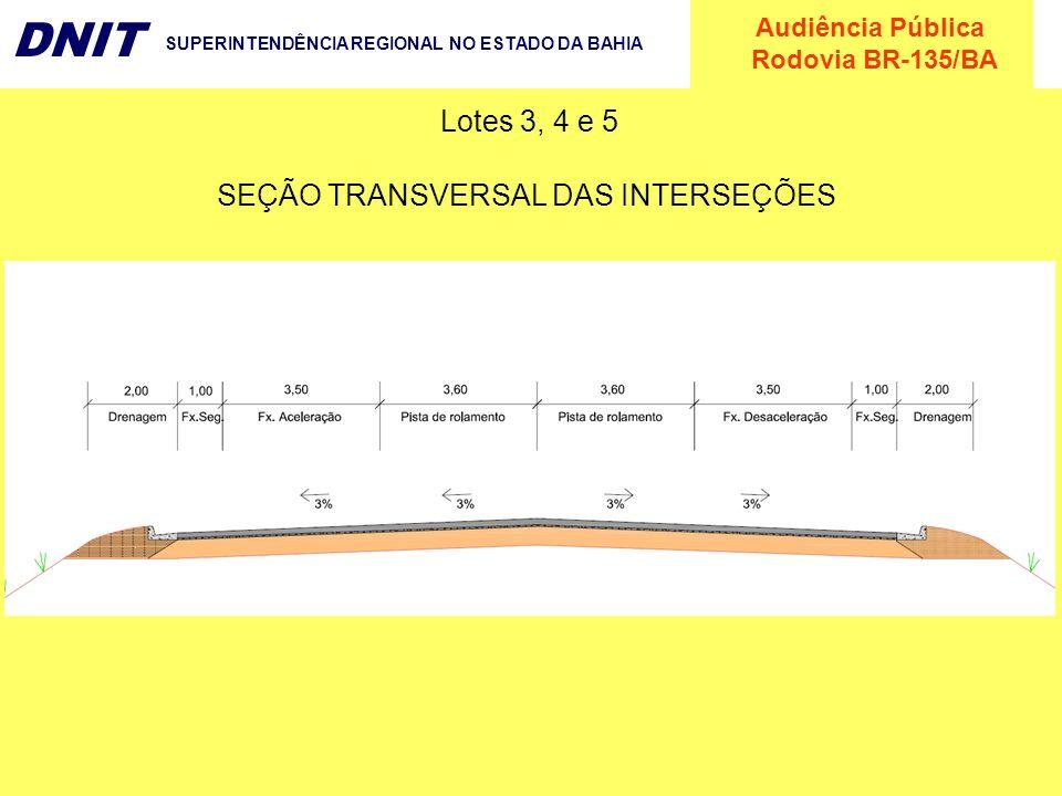 Audiência Pública Rodovia BR-135/BA DNIT SUPERINTENDÊNCIA REGIONAL NO ESTADO DA BAHIA Lotes 3, 4 e 5 SEÇÃO TRANSVERSAL DAS INTERSEÇÕES
