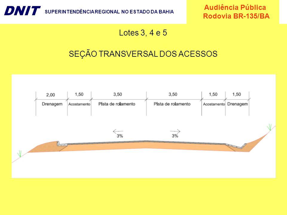 Audiência Pública Rodovia BR-135/BA DNIT SUPERINTENDÊNCIA REGIONAL NO ESTADO DA BAHIA Lotes 3, 4 e 5 SEÇÃO TRANSVERSAL DOS ACESSOS