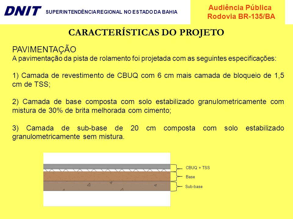 Audiência Pública Rodovia BR-135/BA DNIT SUPERINTENDÊNCIA REGIONAL NO ESTADO DA BAHIA PAVIMENTAÇÃO A pavimentação da pista de rolamento foi projetada