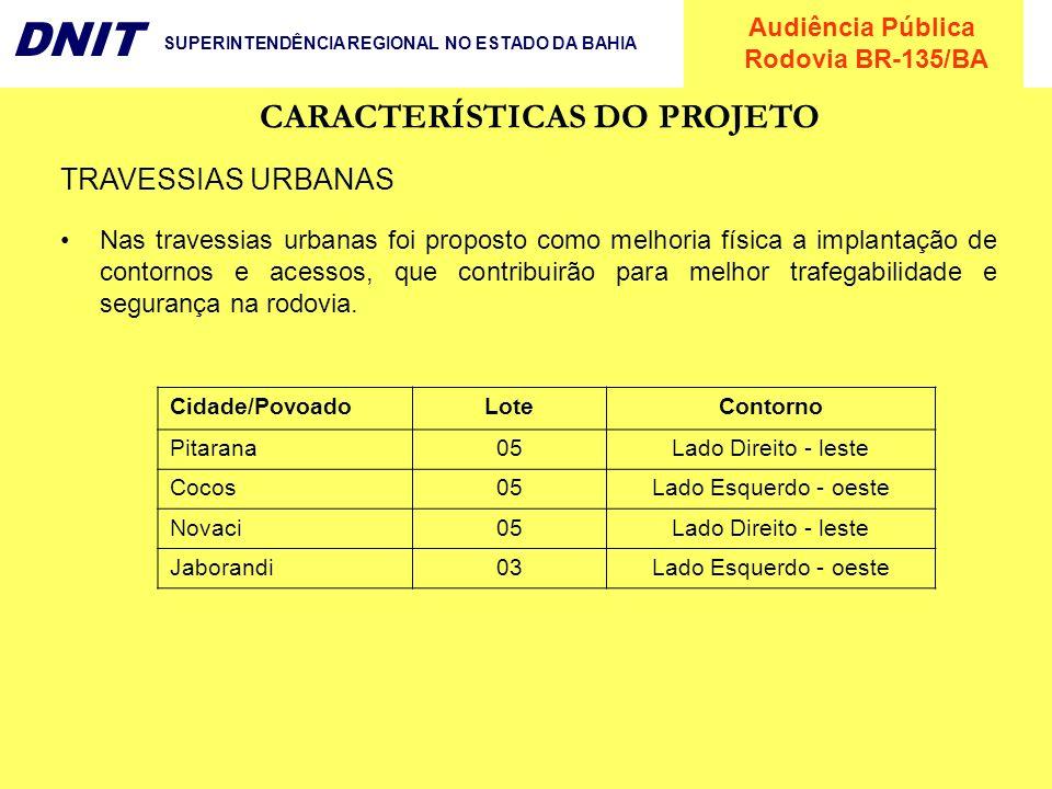 Audiência Pública Rodovia BR-135/BA DNIT SUPERINTENDÊNCIA REGIONAL NO ESTADO DA BAHIA CARACTERÍSTICAS DO PROJETO Cidade/PovoadoLoteContorno Pitarana05