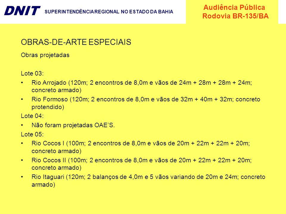 Audiência Pública Rodovia BR-135/BA DNIT SUPERINTENDÊNCIA REGIONAL NO ESTADO DA BAHIA OBRAS-DE-ARTE ESPECIAIS Obras projetadas Lote 03: Rio Arrojado (