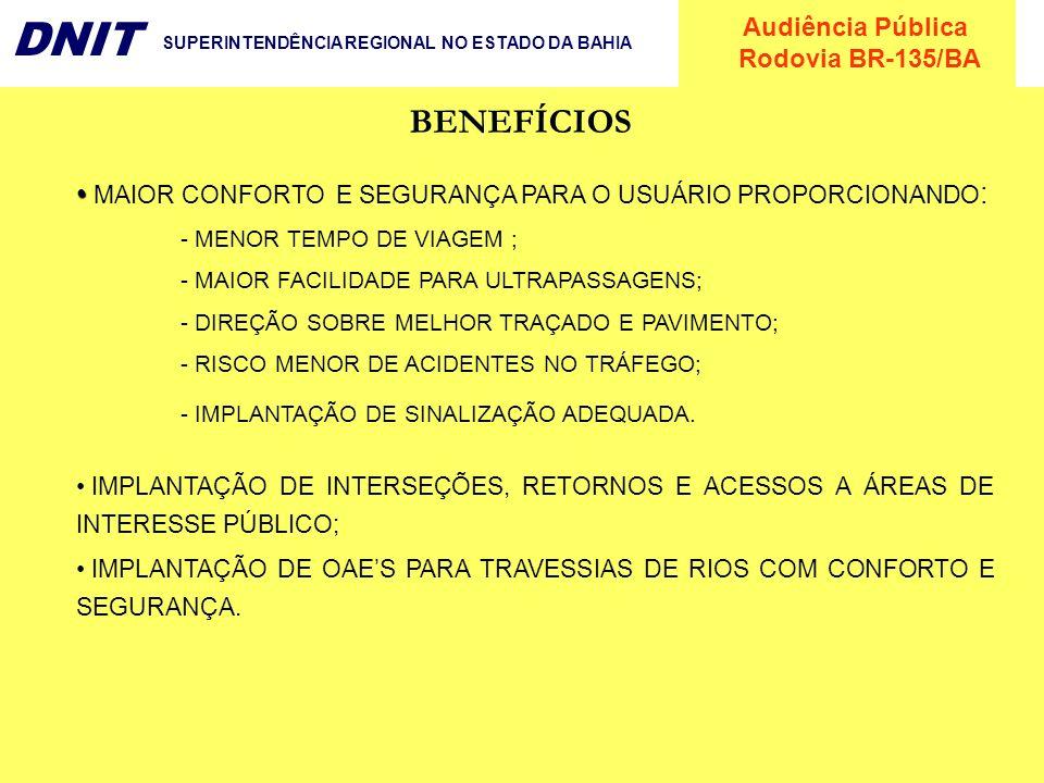 Audiência Pública Rodovia BR-135/BA DNIT SUPERINTENDÊNCIA REGIONAL NO ESTADO DA BAHIA MAIOR CONFORTO E SEGURANÇA PARA O USUÁRIO PROPORCIONANDO : - MEN