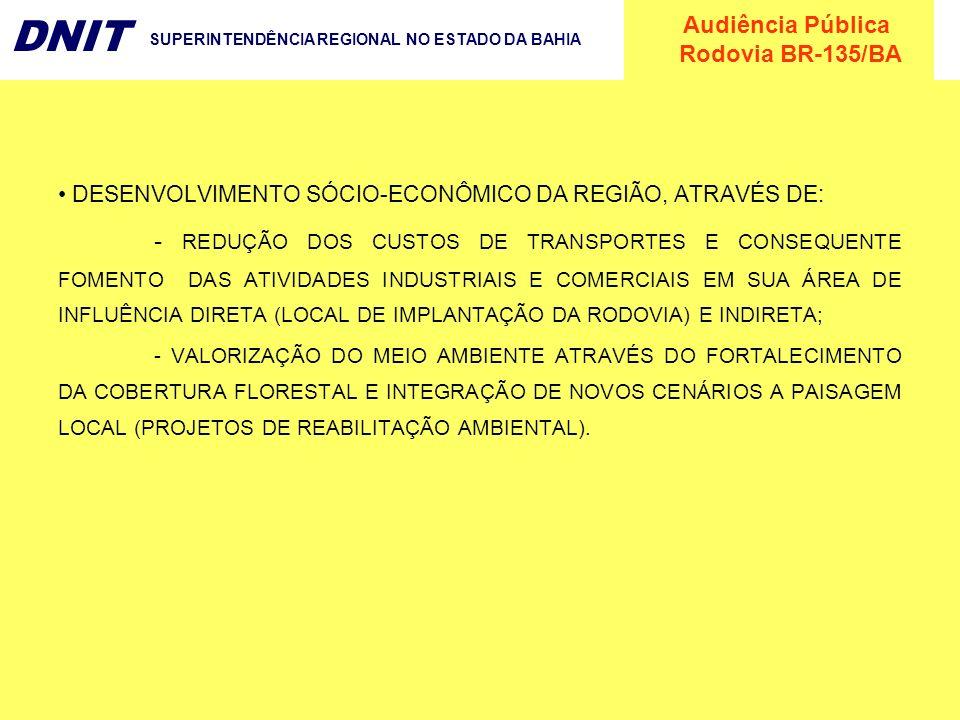 Audiência Pública Rodovia BR-135/BA DNIT SUPERINTENDÊNCIA REGIONAL NO ESTADO DA BAHIA DESENVOLVIMENTO SÓCIO-ECONÔMICO DA REGIÃO, ATRAVÉS DE: - REDUÇÃO