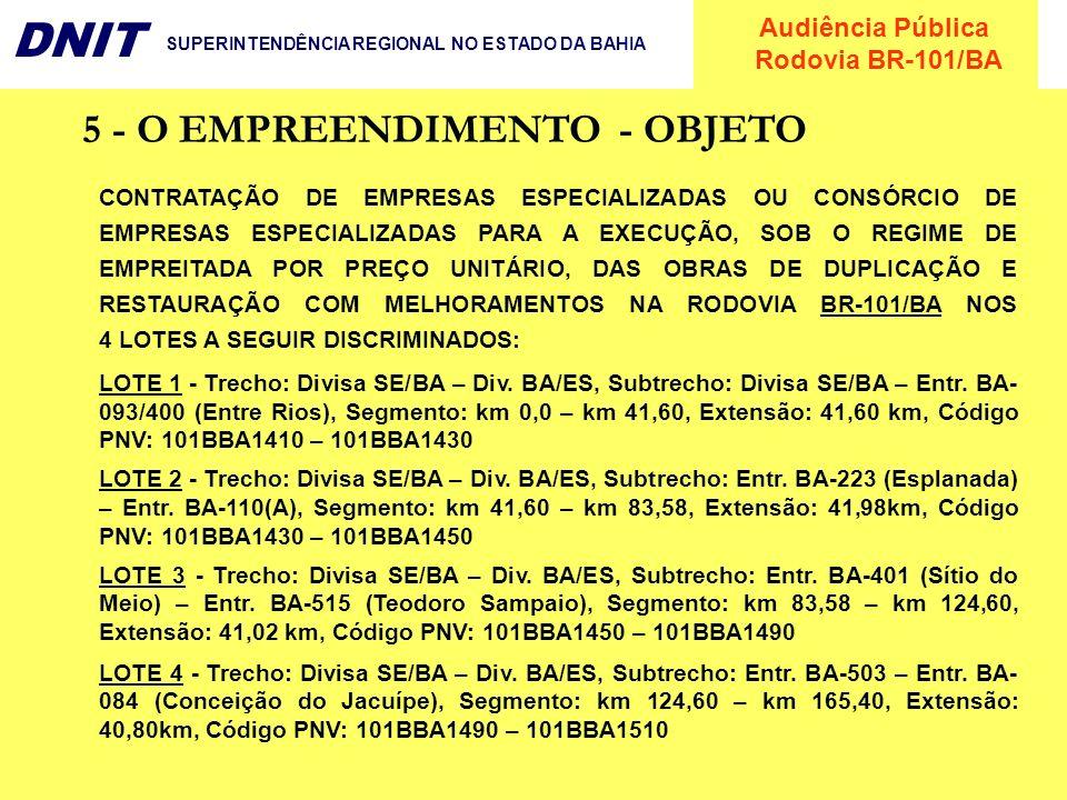 Audiência Pública Rodovia BR-101/BA DNIT SUPERINTENDÊNCIA REGIONAL NO ESTADO DA BAHIA 5 - O EMPREENDIMENTO - OBJETO CONTRATAÇÃO DE EMPRESAS ESPECIALIZ