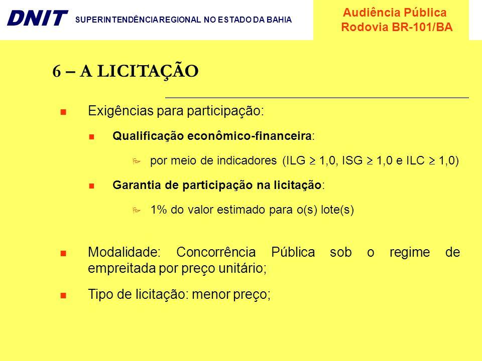 Audiência Pública Rodovia BR-101/BA DNIT SUPERINTENDÊNCIA REGIONAL NO ESTADO DA BAHIA 6 – A LICITAÇÃO Exigências para participação: Qualificação econô