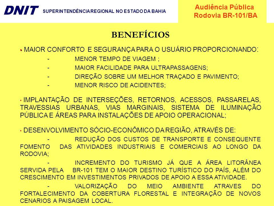 Audiência Pública Rodovia BR-101/BA DNIT SUPERINTENDÊNCIA REGIONAL NO ESTADO DA BAHIA MAIOR CONFORTO E SEGURANÇA PARA O USUÁRIO PROPORCIONANDO : - MEN