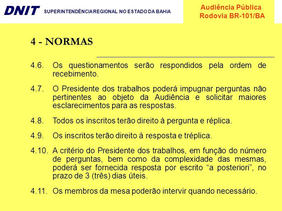 Audiência Pública Rodovia BR-101/BA DNIT SUPERINTENDÊNCIA REGIONAL NO ESTADO DA BAHIA 4.6.Os questionamentos serão respondidos pela ordem de recebimen