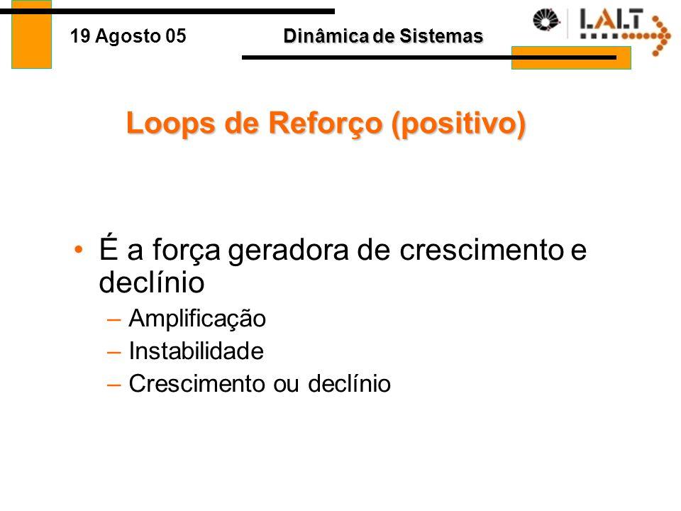 Dinâmica de Sistemas 19 Agosto 05 9 Comportamento Goal-seeking Loop de Balanceamento Comportamento Tempo Objetivo Hiato Estoque - + B Desejado Ajuste
