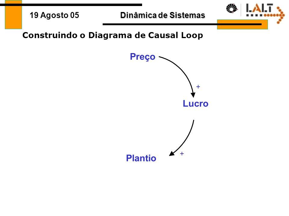 Dinâmica de Sistemas 19 Agosto 05 Construindo o Diagrama de Causal Loop Plantio Preço Lucro +