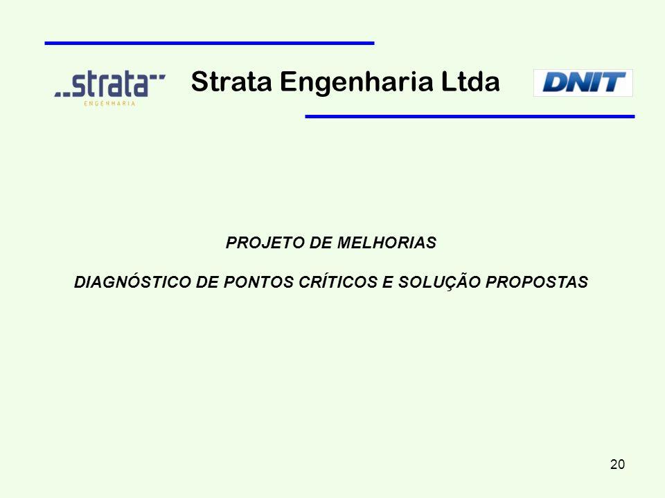 PROJETO DE MELHORIAS DIAGNÓSTICO DE PONTOS CRÍTICOS E SOLUÇÃO PROPOSTAS Strata Engenharia Ltda 20
