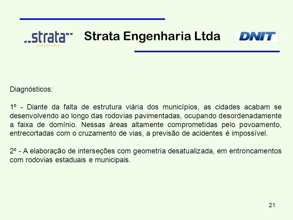Diagnósticos: 1º - Diante da falta de estrutura viária dos municípios, as cidades acabam se desenvolvendo ao longo das rodovias pavimentadas, ocupando