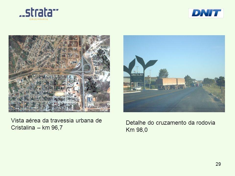 Vista aérea da travessia urbana de Cristalina – km 96,7 Detalhe do cruzamento da rodovia Km 98,0 29