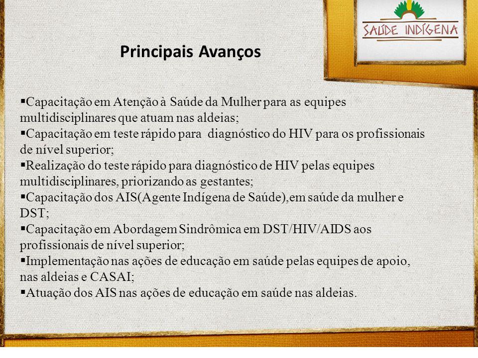 Capacitação em Atenção à Saúde da Mulher para as equipes multidisciplinares que atuam nas aldeias; Capacitação em teste rápido para diagnóstico do HIV para os profissionais de nível superior; Realização do teste rápido para diagnóstico de HIV pelas equipes multidisciplinares, priorizando as gestantes; Capacitação dos AIS(Agente Indígena de Saúde),em saúde da mulher e DST; Capacitação em Abordagem Sindrômica em DST/HIV/AIDS aos profissionais de nível superior; Implementação nas ações de educação em saúde pelas equipes de apoio, nas aldeias e CASAI; Atuação dos AIS nas ações de educação em saúde nas aldeias.