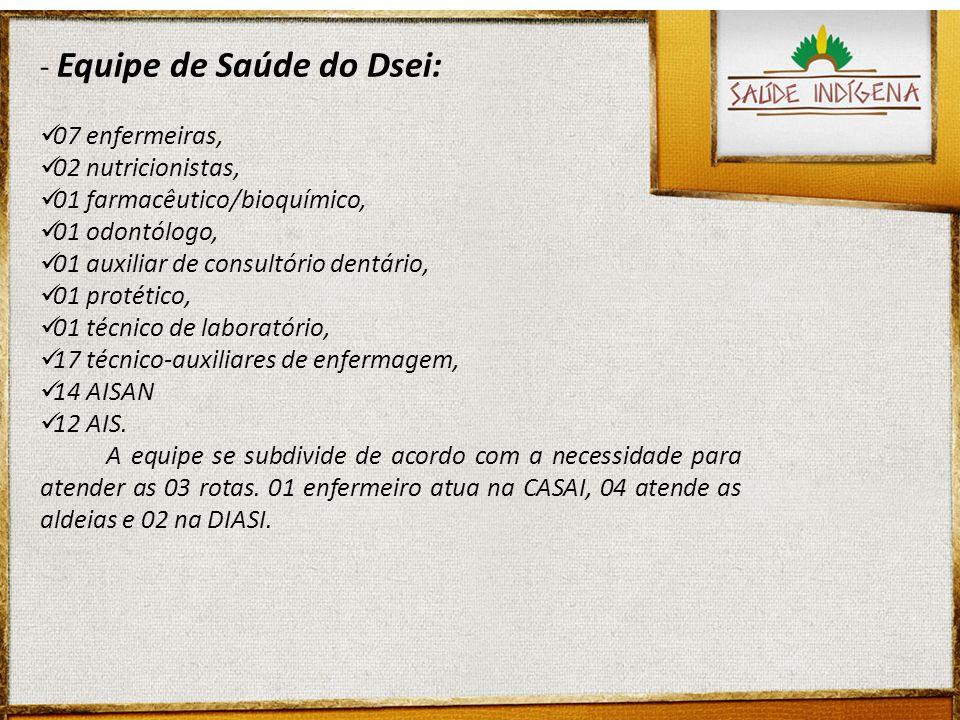 - Equipe de Saúde do Dsei: 07 enfermeiras, 02 nutricionistas, 01 farmacêutico/bioquímico, 01 odontólogo, 01 auxiliar de consultório dentário, 01 proté