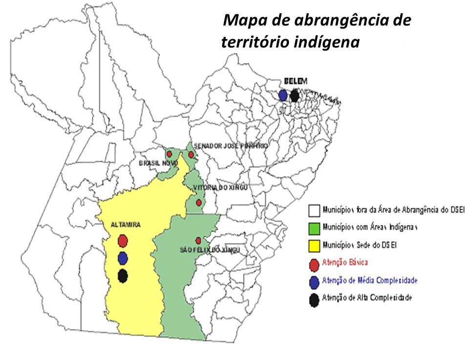 Mapa de abrangência de território indígena