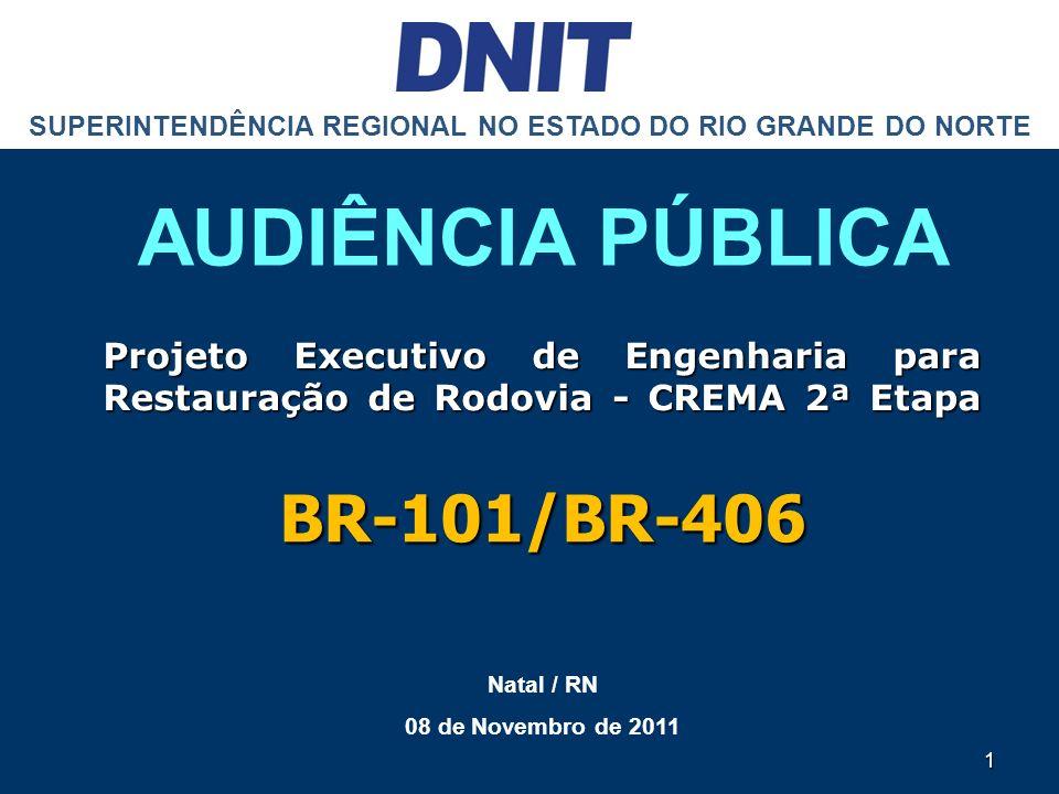 SUPERINTENDÊNCIA REGIONAL NO ESTADO DO RIO GRANDE DO NORTE AUDIÊNCIA PÚBLICA Natal / RN 08 de Novembro de 2011 1 Projeto Executivo de Engenharia para