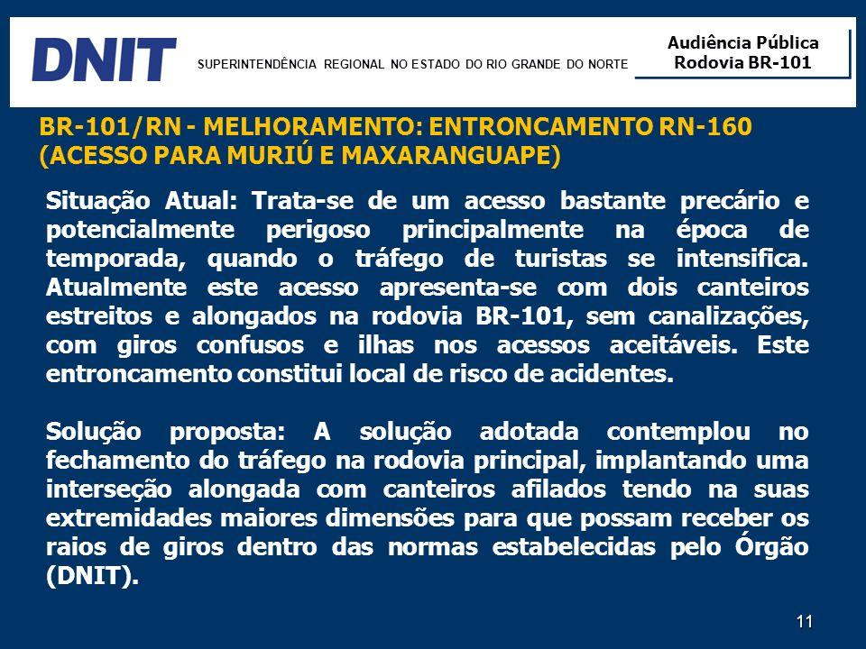 SUPERINTENDÊNCIA REGIONAL NO ESTADO DO RIO GRANDE DO NORTE Audiência Pública Rodovia BR-101 Audiência Pública Rodovia BR-101 11 Situação Atual: Trata-