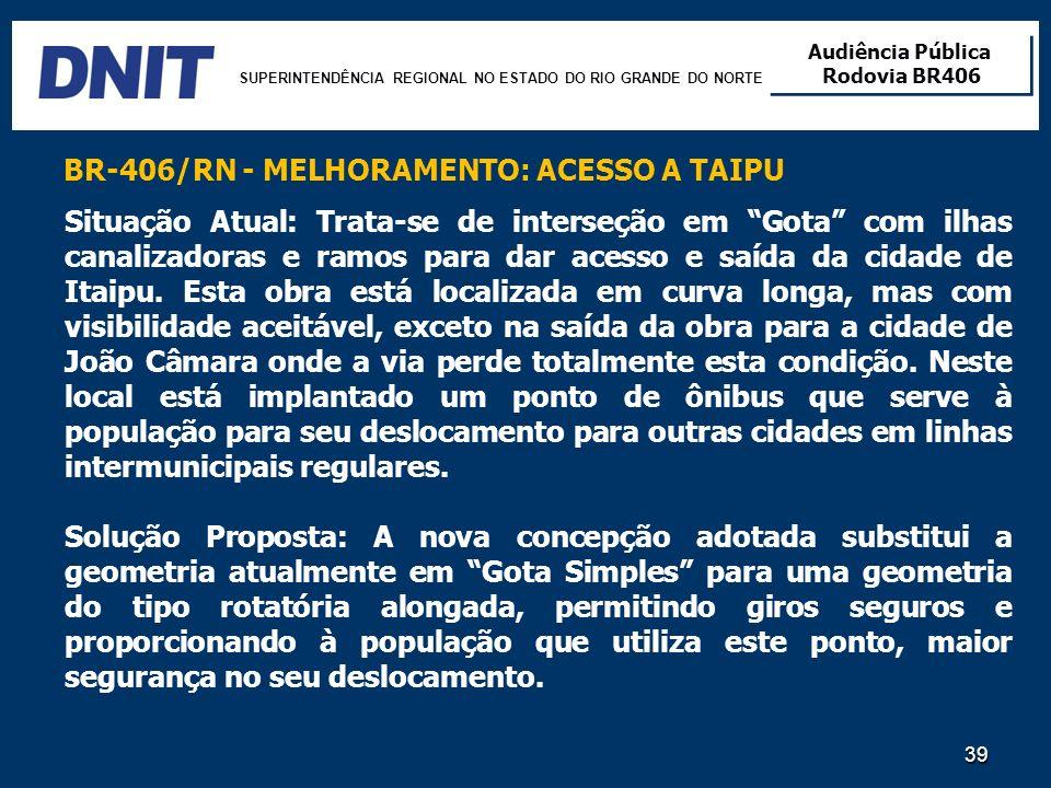 SUPERINTENDÊNCIA REGIONAL NO ESTADO DO RIO GRANDE DO NORTE Audiência Pública Rodovia BR406 Audiência Pública Rodovia BR406 39 Situação Atual: Trata-se