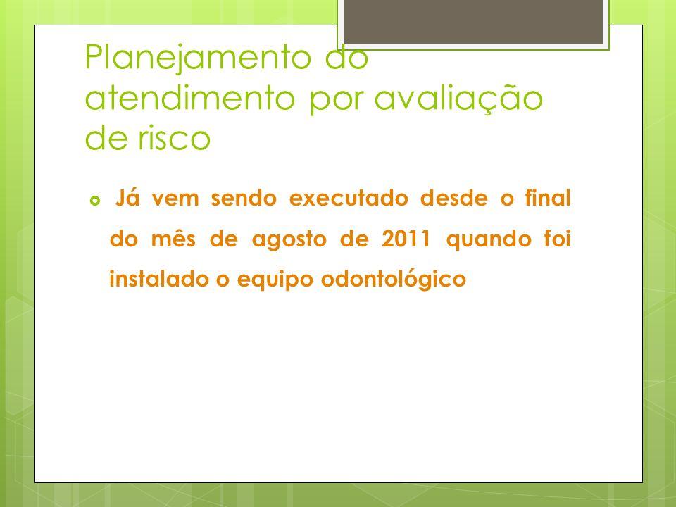 Planejamento do atendimento por avaliação de risco Já vem sendo executado desde o final do mês de agosto de 2011 quando foi instalado o equipo odontol