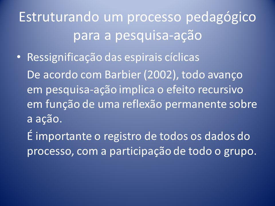 Estruturando um processo pedagógico para a pesquisa-ação Ressignificação das espirais cíclicas De acordo com Barbier (2002), todo avanço em pesquisa-a