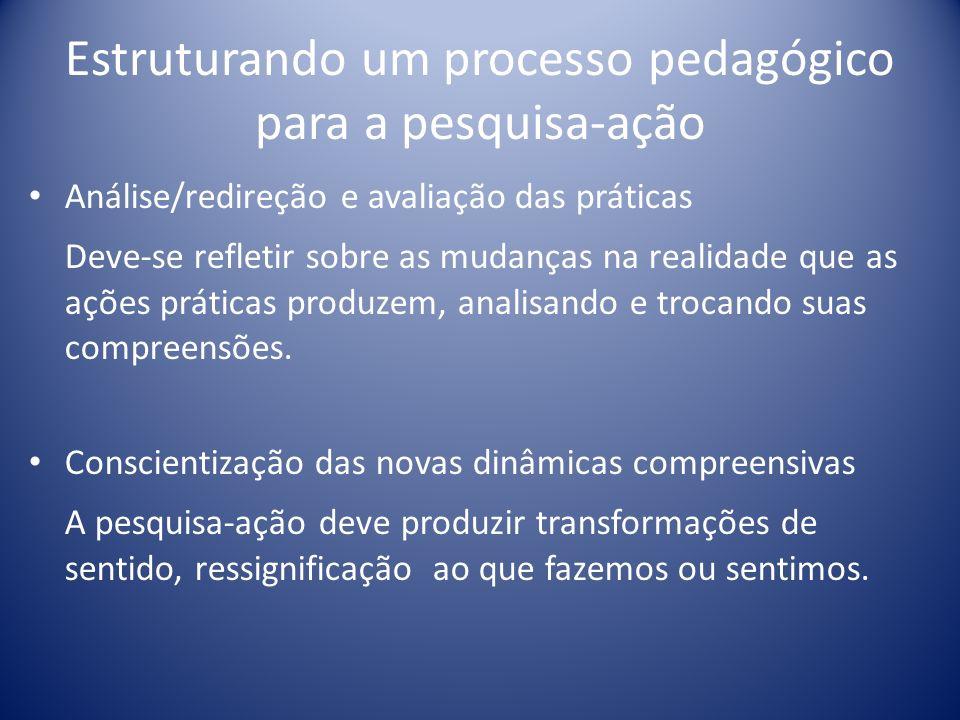 Estruturando um processo pedagógico para a pesquisa-ação Análise/redireção e avaliação das práticas Deve-se refletir sobre as mudanças na realidade qu