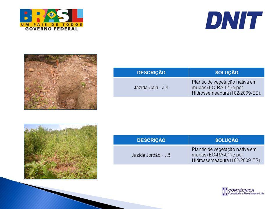 DESCRIÇÃOSOLUÇÃO Jazida Cajá - J.4 Plantio de vegetação nativa em mudas (EC-RA-01) e por Hidrossemeadura (102/2009-ES). DESCRIÇÃOSOLUÇÃO Jazida Jordão
