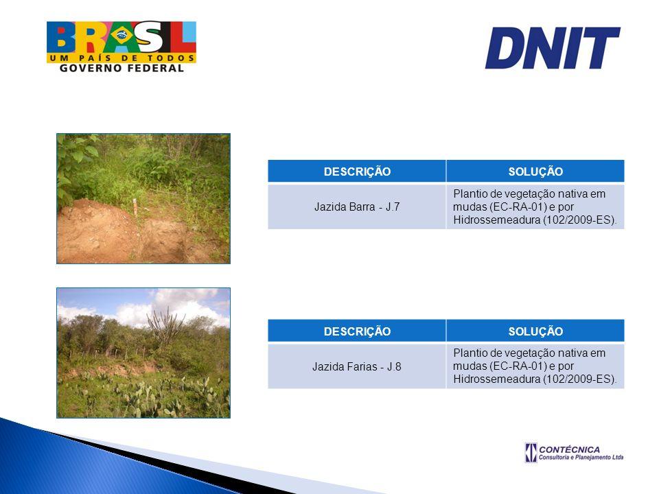 DESCRIÇÃOSOLUÇÃO Jazida Barra - J.7 Plantio de vegetação nativa em mudas (EC-RA-01) e por Hidrossemeadura (102/2009-ES). DESCRIÇÃOSOLUÇÃO Jazida Faria