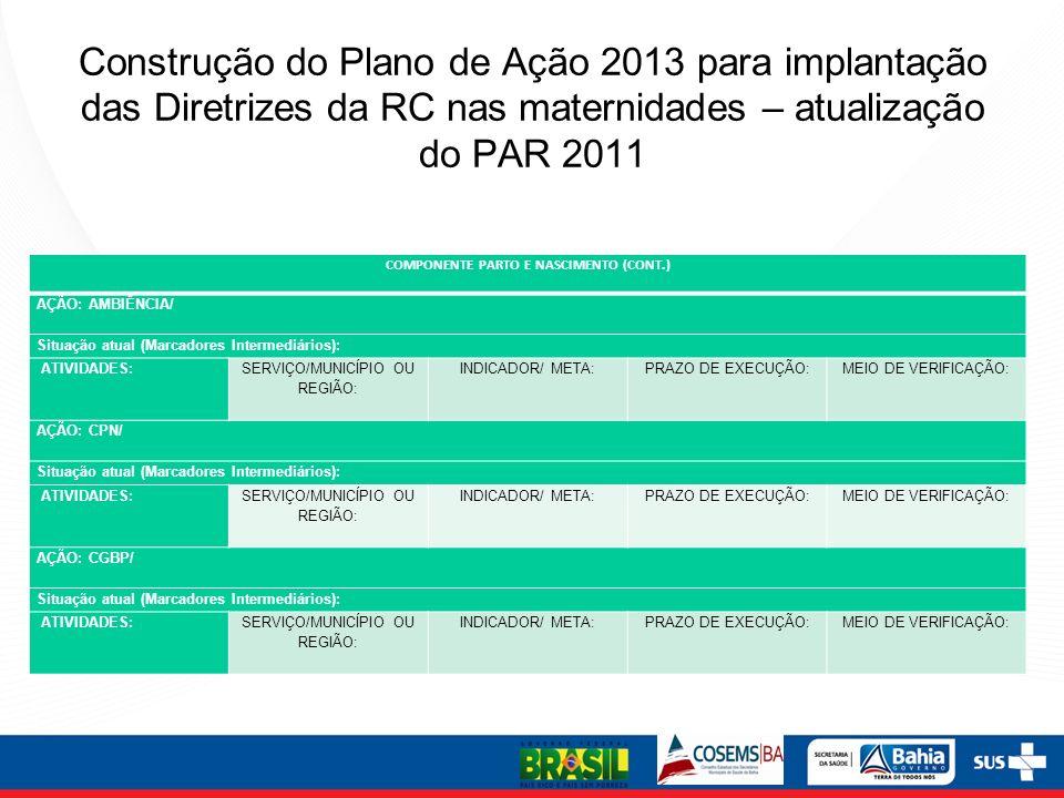 Construção do Plano de Ação 2013 para implantação das Diretrizes da RC nas maternidades – atualização do PAR 2011 COMPONENTE PARTO E NASCIMENTO (CONT.