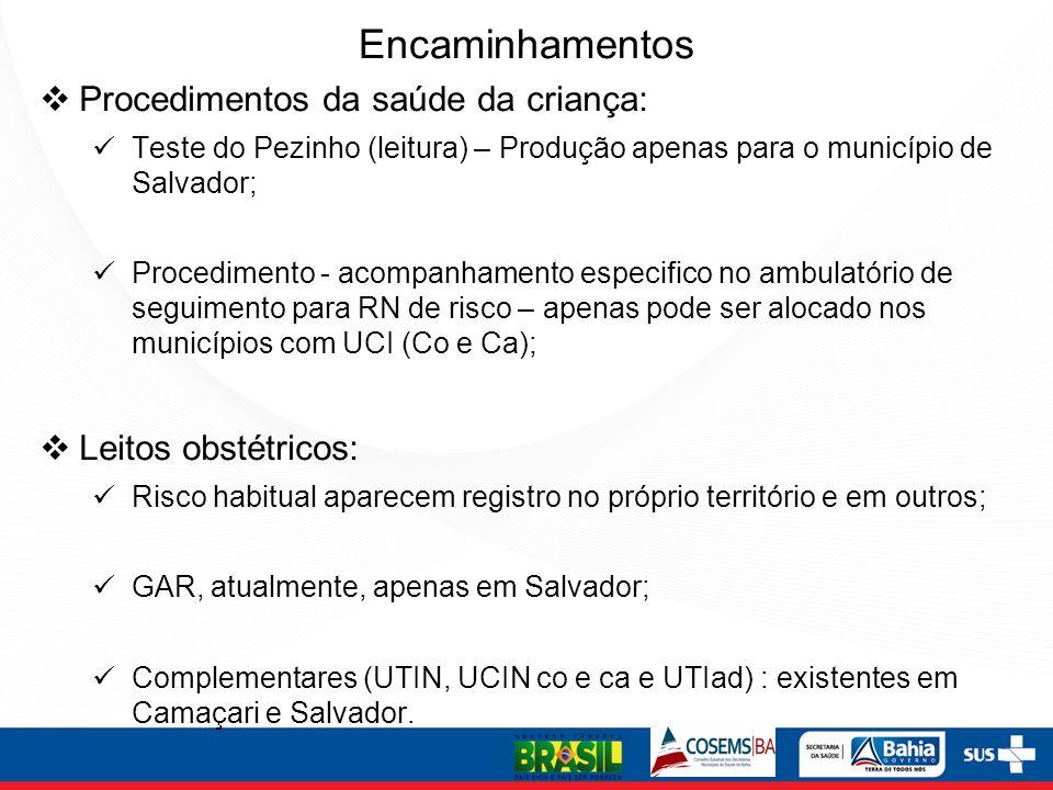 Encaminhamentos Procedimentos da saúde da criança: Teste do Pezinho (leitura) – Produção apenas para o município de Salvador; Procedimento - acompanha