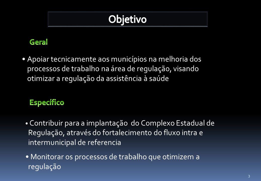 3 Apoiar tecnicamente aos municípios na melhoria dos processos de trabalho na área de regulação, visando otimizar a regulação da assistência à saúde C