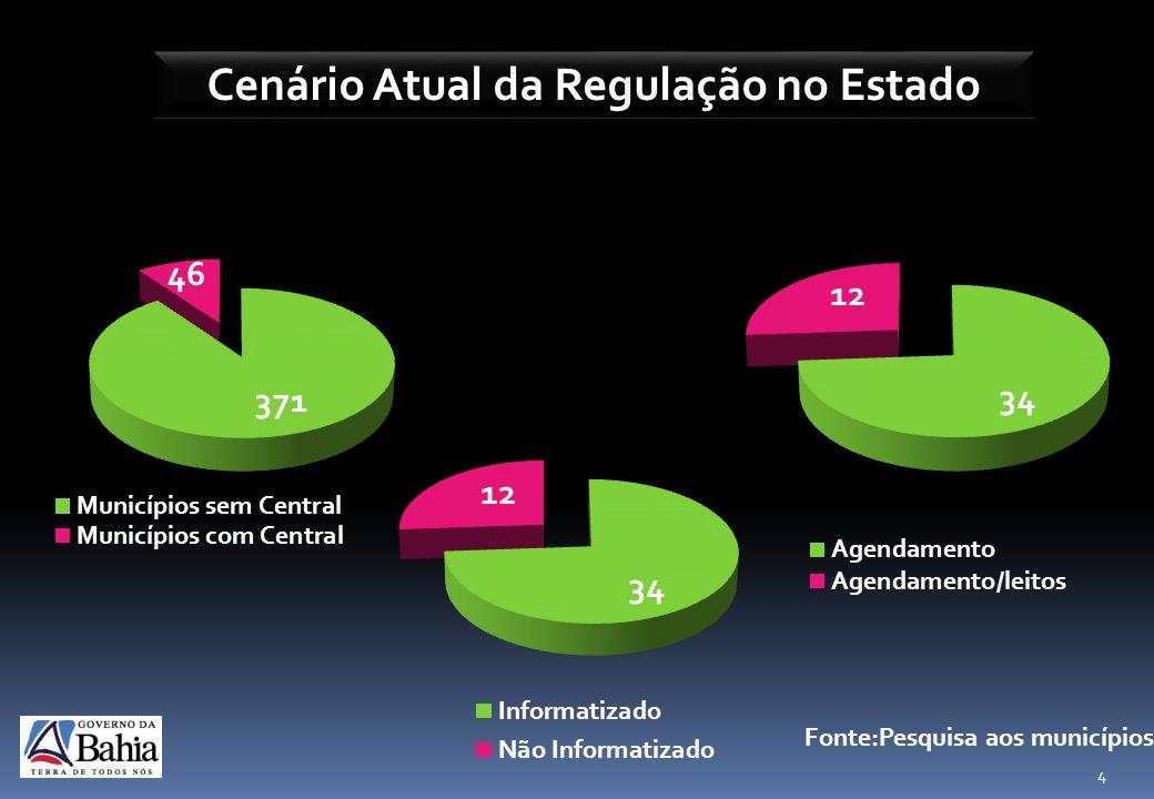 Cenário Atual da Regulação no Estado 4 417 Fonte:Pesquisa aos municípios