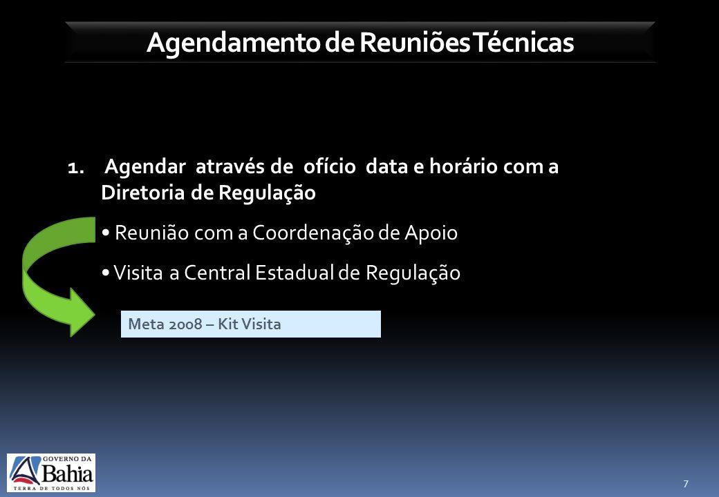 Agendamento de Reuniões Técnicas 7 1. Agendar através de ofício data e horário com a Diretoria de Regulação Reunião com a Coordenação de Apoio Visita
