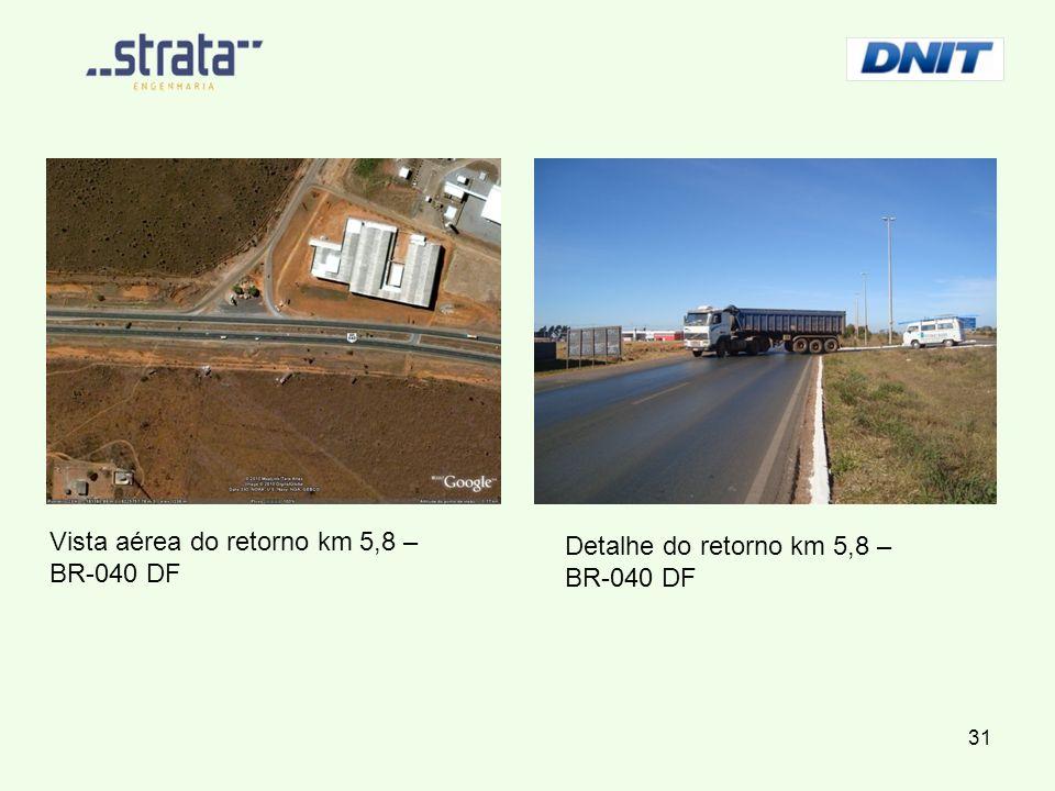 Vista aérea do retorno km 5,8 – BR-040 DF Detalhe do retorno km 5,8 – BR-040 DF 31