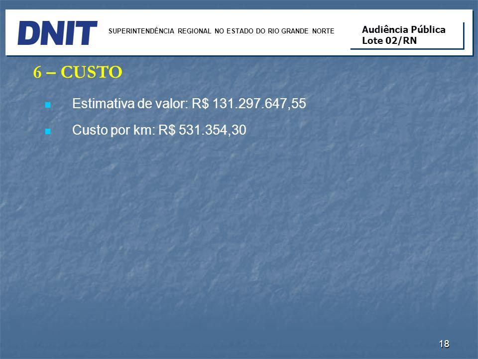 6 – CUSTO Estimativa de valor: R$ 131.297.647,55 Custo por km: R$ 531.354,30 18 SUPERINTENDÊNCIA REGIONAL NO ESTADO DO RIO GRANDE NORTE Audiência Públ