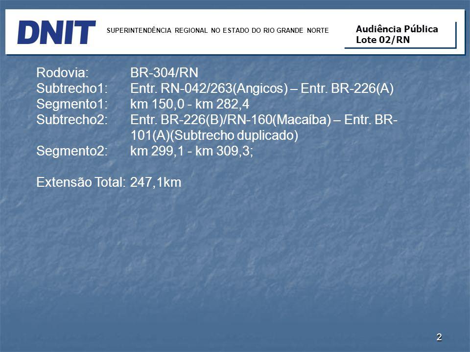 Rodovia: BR-304/RN Subtrecho1: Entr. RN-042/263(Angicos) – Entr. BR-226(A) Segmento1: km 150,0 - km 282,4 Subtrecho2: Entr. BR-226(B)/RN-160(Macaíba)