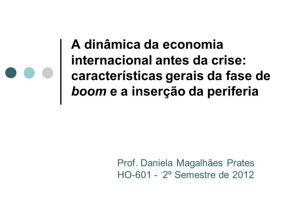 Organização da aula Características gerais Estouro da bolha acionária e a resposta de política econômica nos países avançados As três « bolhas » Bolha imobiliária Novo boom de fluxos de capitais Boom de preço das commodities A inserção diferenciada dos países emergentes
