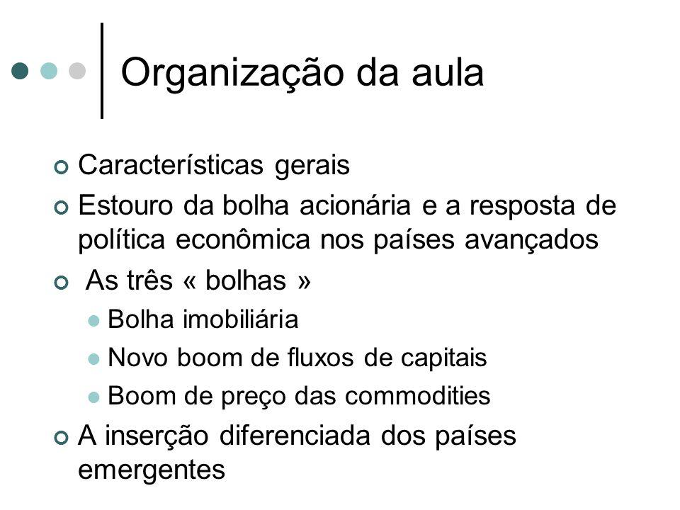 Organização da aula Características gerais Estouro da bolha acionária e a resposta de política econômica nos países avançados As três « bolhas » Bolha
