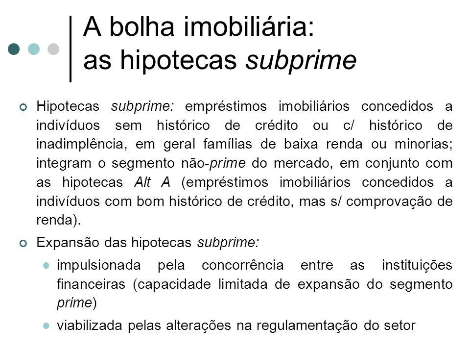 A bolha imobiliária: as hipotecas subprime Hipotecas subprime: empréstimos imobiliários concedidos a indivíduos sem histórico de crédito ou c/ históri